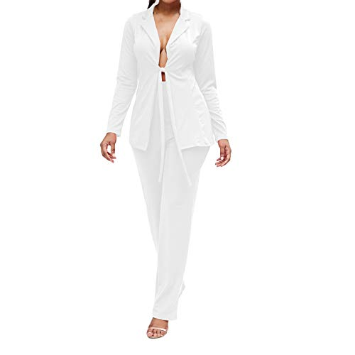 Womens Solid Color Blazers 2 Piece Outfits Long Sleeve Suits with Pants Tracksuit White ()