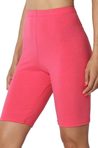 TheMogan Women's Mid Thigh Cotton High Waist Active Short Leggings Dark Coral L ()