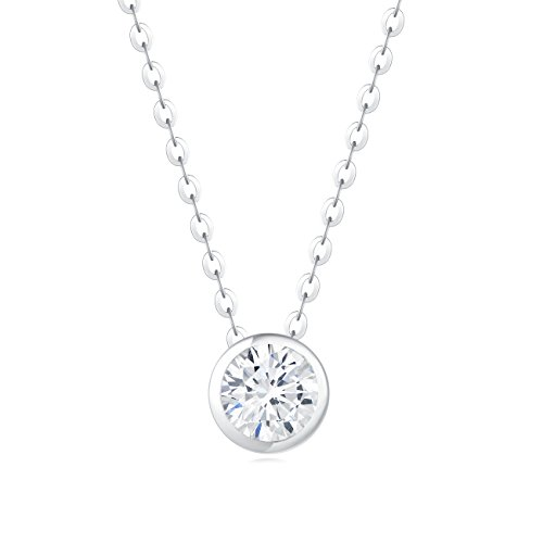 High Well Quality Necklace (Carleen 18K White Gold Plated 925 Sterling Silver Bezel Setting Round Solitaire CZ Cubic Zirconia Dainty Pendant Necklace for Women Girls with 15.75
