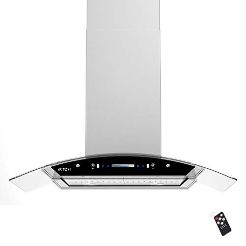 IKTCH 30 inches Island Mount Range Hood, 900 CFM Stainless Steel Kitchen Chimney Vent with Gesture Sensing & Touch…