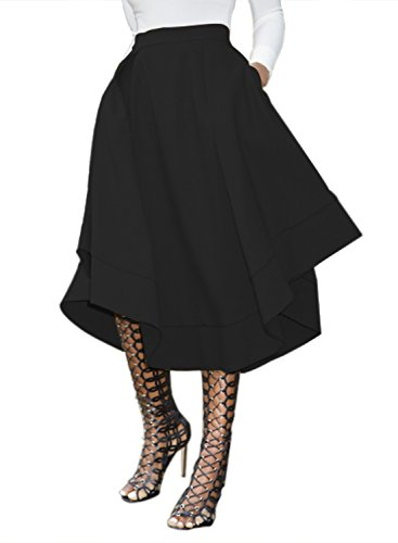 Dokotoo Womens Plus Size Casual Ladies High Waist Amazon Modest Cotton Fit and Flare Midi Pleated Skater Skirt Black XX-Large