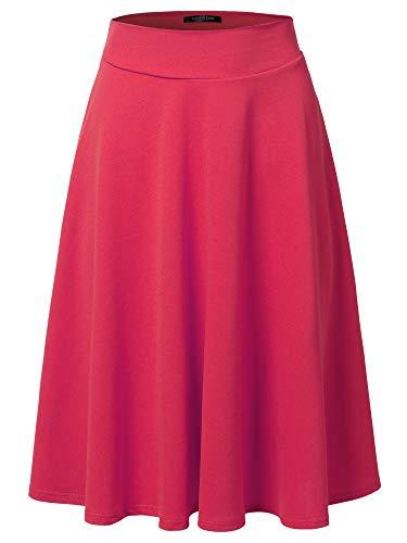 SSOULM Women's High Waist Flare A-Line Midi Skirt Fuchsia S