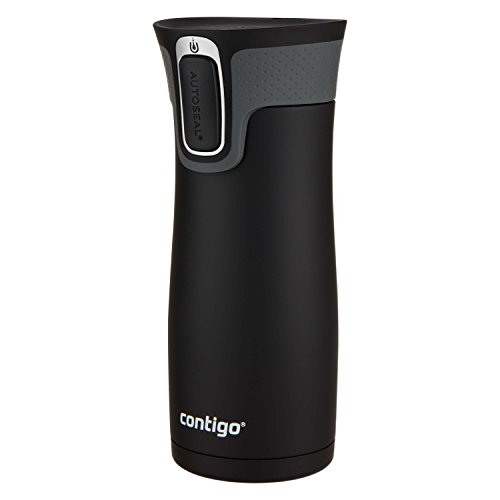 Contigo AUTOSEAL West Loop Travel Mugs, 16 oz., Stainless Steel & Matte Black, 2-Pack