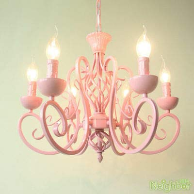 FidgetGear Contemporary Pink Chandelier Iron LED Pendant Light Princess Room Ceiling Lamp by FidgetGear (Image #1)