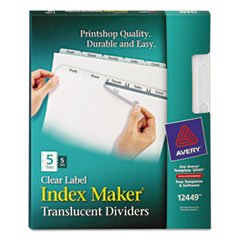 Wholesale CASE of 10 - Avery Index Maker Easy Apply Clear Label Strips-Index Label Dividers, Plastic, 5-Tab, 3HP Punched, Clear