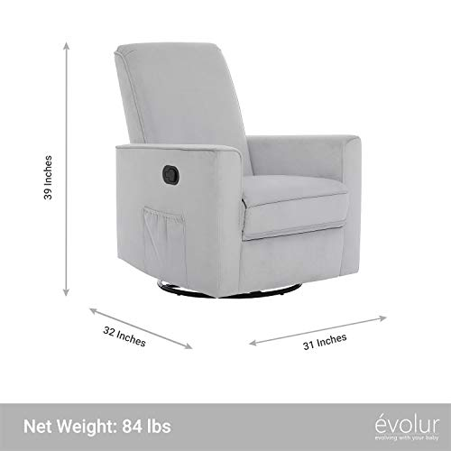 31LXpGHM0LL - Evolur Raleigh Basic Glider |Recliner| Rocker, Grey