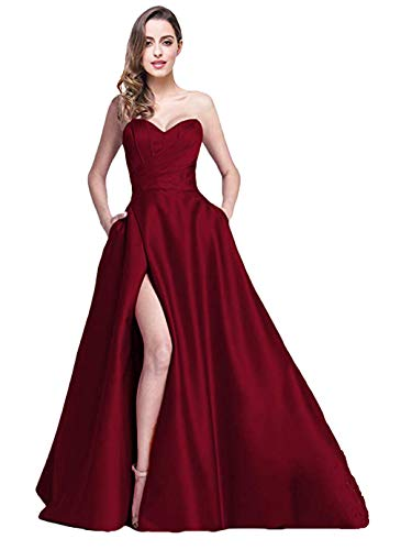 Ri Yun Women's Sweetheart Prom Dresses Long 2019 High Slit Strapless A-Line Formal Evening Ball Gowns with Pockets Burgundy