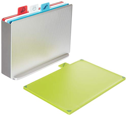 Joseph Joseph 60131 Index Plastic Cutting Board Set with Storage Case Color-Coded Dishwasher-Safe Non-Slip, Small, Silver