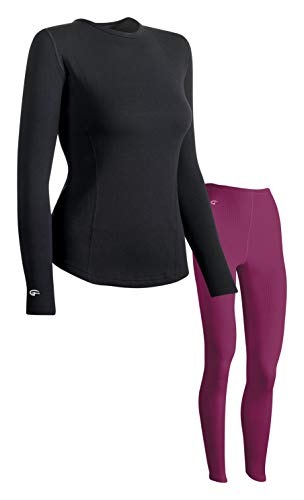 Doufold by champion Womens Thermal Underwear Set Thermal Leggings Berry Delight with Black Thermal top