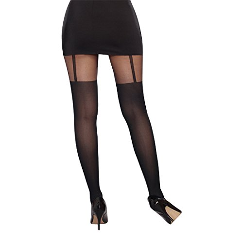Dreamgirl Women's Sheer Pantyhose with Garters, Black, One Size