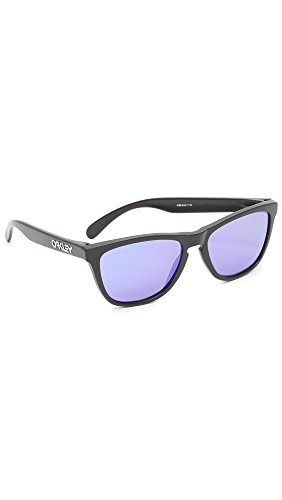 Oakley Men's Frogskins (a) Polarized Iridium Rectangular Sunglasses, Matte Black, 54 - Oakley Frogskins Polarized