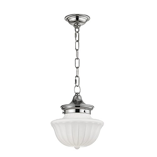 - Dutchess 1-Light Small Pendant - Polished Nickel Finish with White Glass Shade