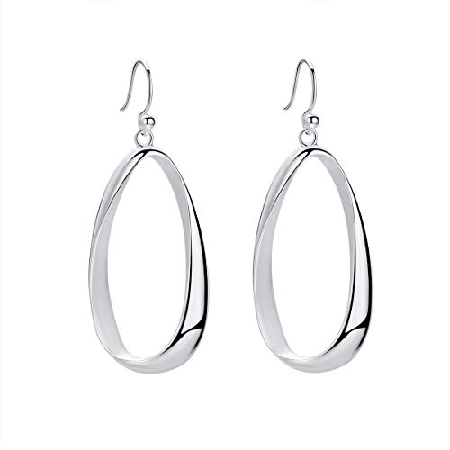 (SA SILVERAGE Sterling Silver Twisted Hoop Earrings Oval Round Dangle Teardrop Earrings For Women)