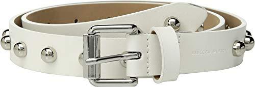 (Rebecca Minkoff Women's Core Studded Belt, White/Nickel, Large)