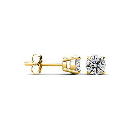 1/4 Cttw 14k Yellow Gold Round Diamond Stud Earrings (AGS Certified K-L, I2-I3)