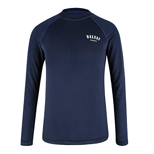 Baleaf Athletic Boys' Long Sleeve Rash Guard Shirt Quick Dry Swimwear Surf Shirt Top UPF 50+ Navy -