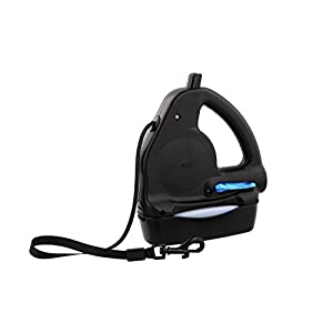 WalkWhiz Multi Leash: All-in-One 16 ft Retractable Dog Leash, Lightweight and Slim, Includes Water/Food Bowl & Waste Bag Holder with Bags - Black