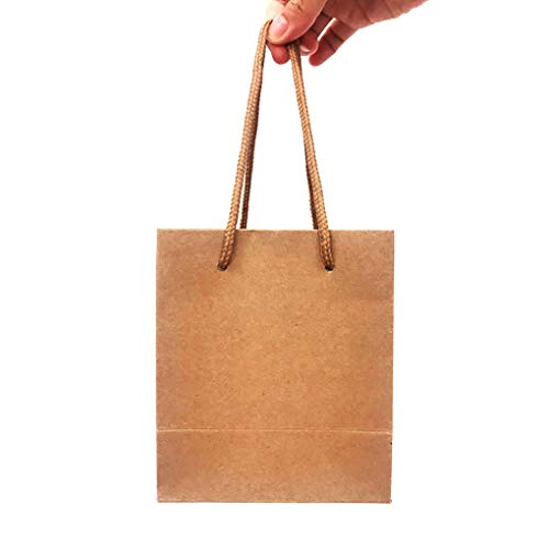 "Small Kraft Paper Bags 5.12""x3.15""x5.91"" Inches,12 PCS Brown Craft Bags with Handles,Shopping Bags,Merchandise Bags,Gift Bags"