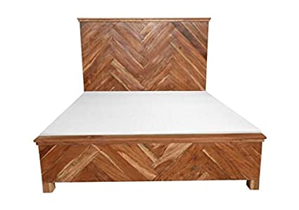 Miranda Wooden Bed, Rustic Home Furniture, Handcrafted Designer Bed, Brown Color, Natural
