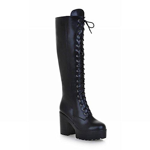 Carol Chaussures À Lacets Mode Femmes Cambat Chunky Talon Équitation Hautes Bottes Noir
