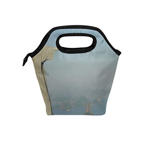 - Rh Studio Statue Christ The Savior Rio De Janeiro Cristo Redentor Lunch Tote Bag Insulated Cooler Thermal Reusable Bag Lunch Box Portable Handbag