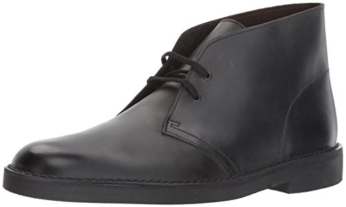 Shoes Men Leather Casual (CLARKS Men's Bushacre 2 Chukka Boot, Black Waxy Leather, 9 Medium US)