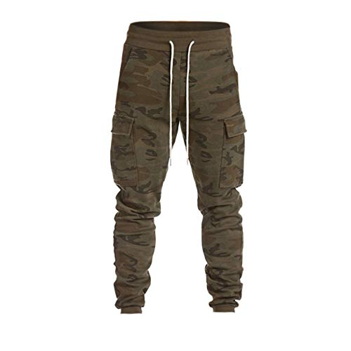 Sunhusing Men's Casual Harem Sweatpants Lace-Up Trousers Personalized Side Pockets Baggy Jogger Pants Camouflage