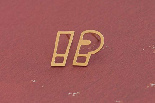 Gold Punctuation Earrings, Question And Exclamation Mark Studs - Exclamation Question Mark
