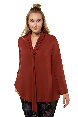 Tops Popken Cuivre Femme Col Blouse Rouge Hauts Femme Chemise 719383 V Casual Boutons Rayures Longues Manches Grandes Shirt Ulla Tailles Od1AHdq