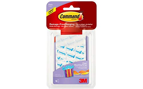 Command Party Small Clear Mounting Strips, 18-Strips (17807CLR-ES)