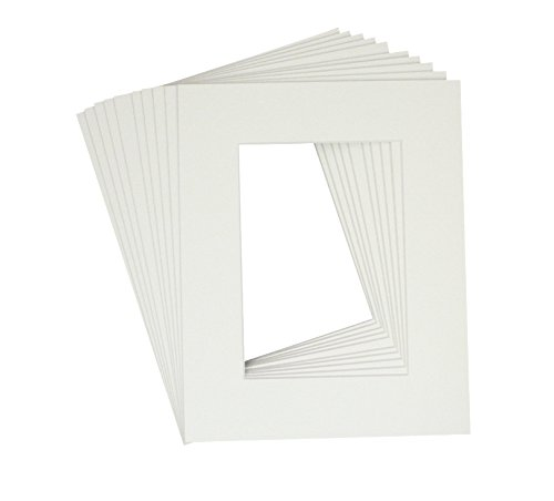 Golden State Art, Pack of 10 White 8x10 Picture Mats Mattes with White Core Bevel Cut for 5x7 Photo + Backing +Bags