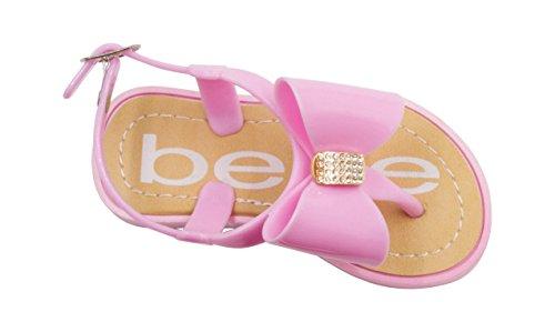 bebe Toddler Girls Jelly Thong Slingback Flat Sandal with Rhinestone Bow 5/6 Light Pink