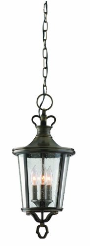 Three Light English Bronze Hanging Lantern