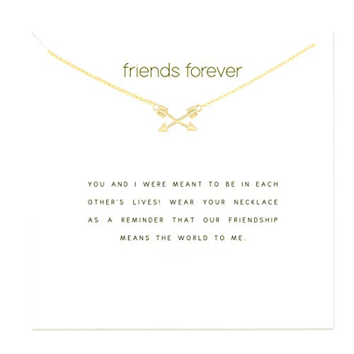 (HUNO Stainless Steel Chain Cross Arrow Pendant Necklace with Message Card Friendship Best Friends Jewelry Gifts for Women-Gold)