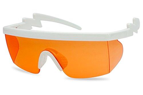 SunglassUP 80's Neon Semi Rimless Style Retro Rainbow Mirrored Transparent Lens ZigZag Sunglasses (White Frame | -