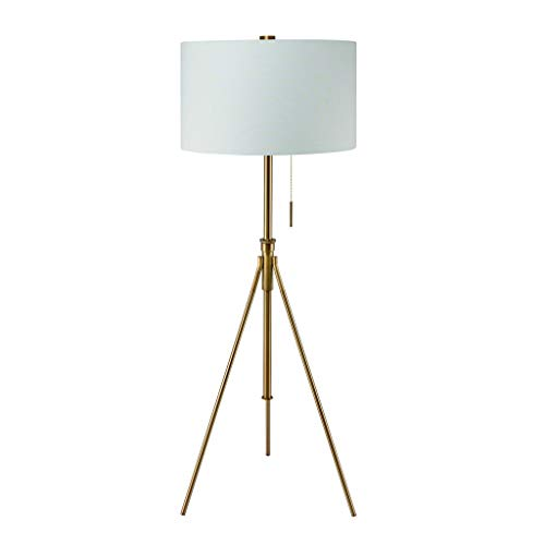 (Standing Tripod Floor Lamp Gold Living Room Lighting Tall Light Fixture Adjustable Frame Drum Shaped Shade, Metal)