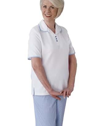 Womens Adaptive Capri Set - Open Back Capri Pants - Silverts Adaptive Clothing - White XL