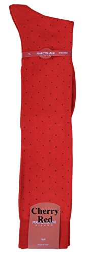 Marcoliani Men's Mercerized Cotton Lisle Over-the-Calf Pin Dot Dress Sock-1 Pair Cherry (Mens Pin Dot Dress Sock)