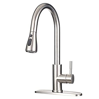 "Stainless Steel Faucet with Pull Down Sprayer MSTJRY Commercial Single Handle Kitchen Sink Faucets 16.5"" Height Dual Function Pull Out Spray (Deck Plate Included)"