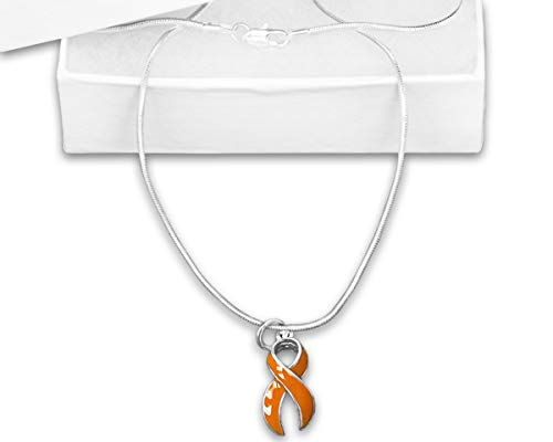 Large Orange Ribbon Necklace in a Gift Box (1 Necklace - Retail)