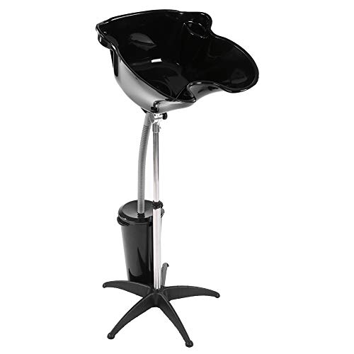 (Hair Basin, Height Adjustable Portable Hair Basin Barber Backwash Shampoo Sink Stainless Steel Hair Treatment Bowl with Drain Hose)
