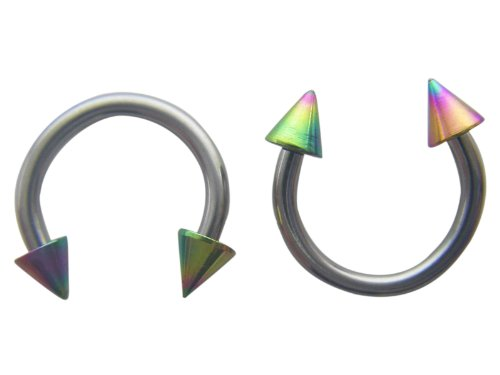 Silvertone Horseshoe Septum Ring With Rainbow Metalic Spikes (1 mm, 18 Gauge)