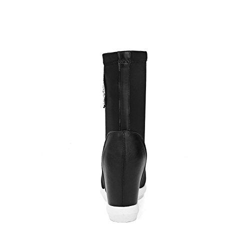VogueZone009 Damen Hoher Absatz Rein Rund Zehe Weiches Material Ziehen auf Stiefel Schwarz