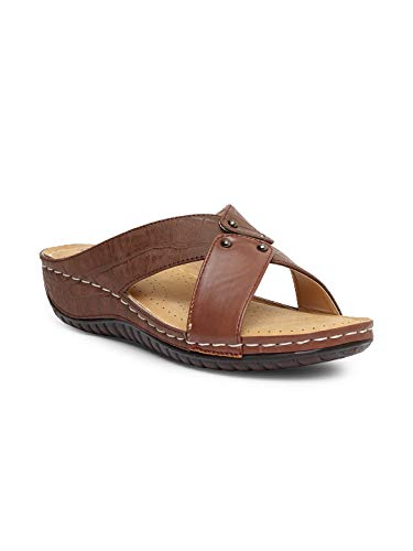 Butterflies Steps Latest Collection, Comfortable Flat Doctor Sole for Women's & Girl's (Brown) (GHS-0059BN)