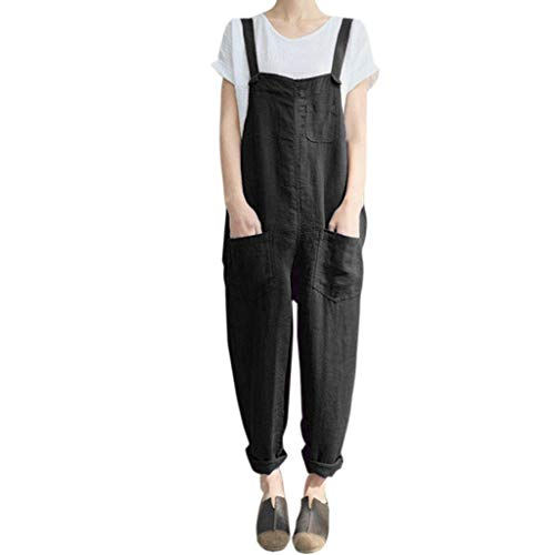 (Fheaven Women Girls Pinafore Jumpsuit Cotton Linen Loose Widen Sling Pockets Apron Home Garden Work Uniform Dungarees (M, Black))