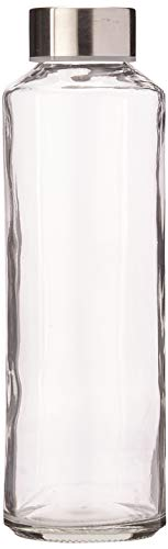 (Estilo Glass Water Bottles 16 oz, Stainless Steel Cap - Case of 6)