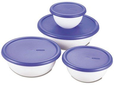 STERILITE 07479406 8 Piece Covered Bowl Set, White & Blue, 1-Pack,