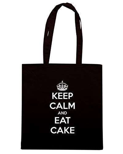 KEEP Shirt Nera CALM EAT CAKE AND TKC2685 Borsa Shopper Speed X61wX