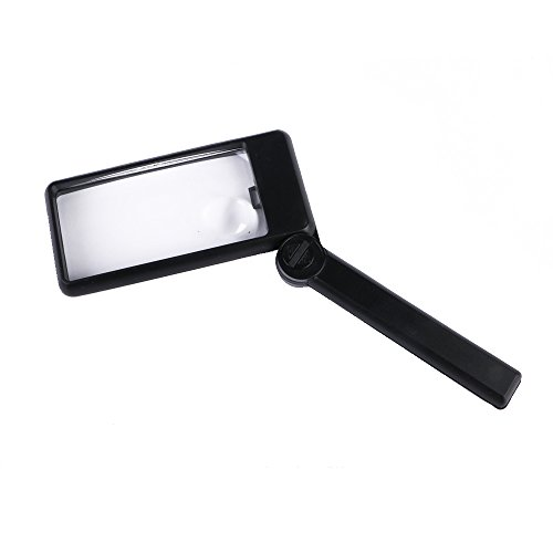 Rectangular Magnifying Glass-Lighted Magnifier for Reading with Light Bulb And Folding Handle, Double-Lens Design-Large 2X Lens With Small 4X Lens