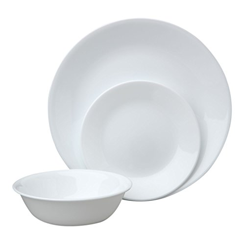 Corelle Livingware Piece Dinnerware Set, Winter Frost White , Service for 8 (24-Piece Set) (Dish Sets For 8)